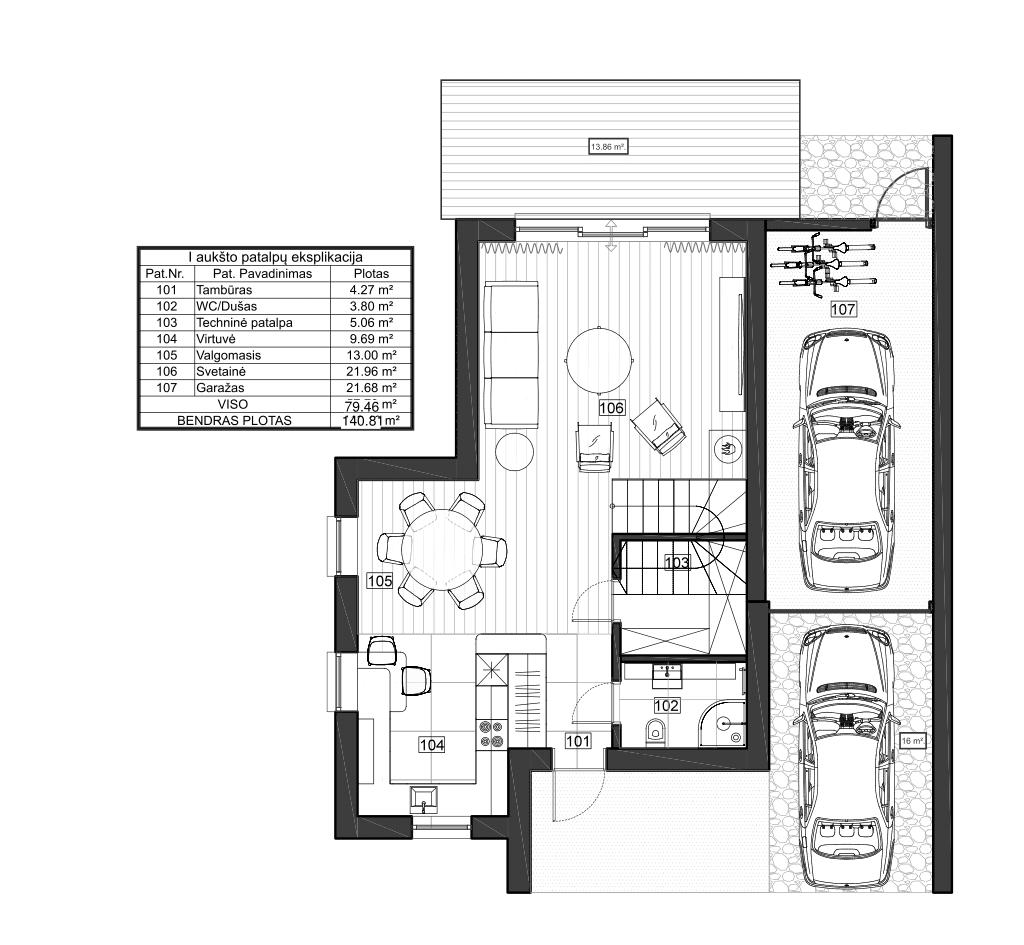 Vienbutis namas su garažu 6