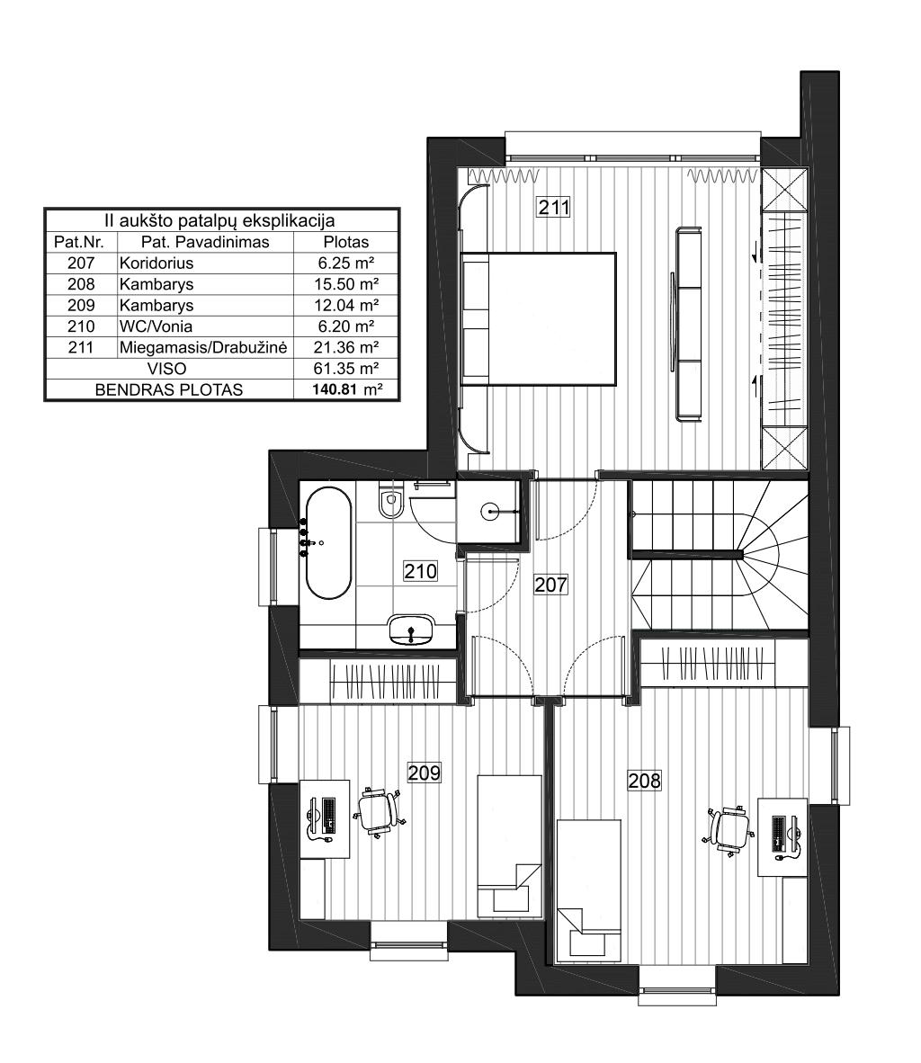 Vienbutis namas su garažu 54